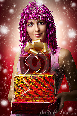 Glamour portrait of christmas happy woman, gifts