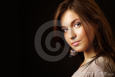 Glamour portrait of elegant sensual young woman