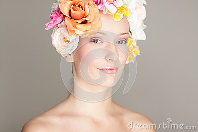 Glamour portrait with flowers