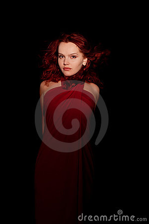 Glamour portrait redhaired woman