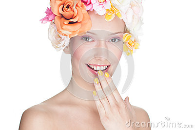 Glamour portrait of woman with flowers on head
