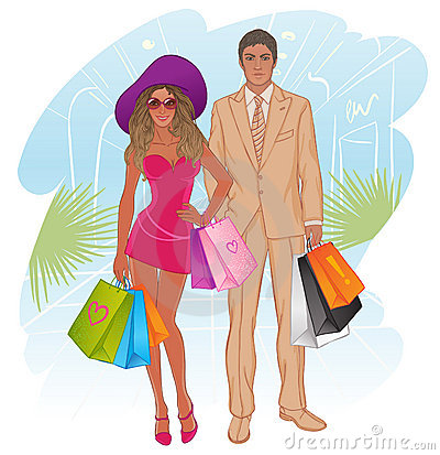 Glamour shopping couple. Vector illustration.