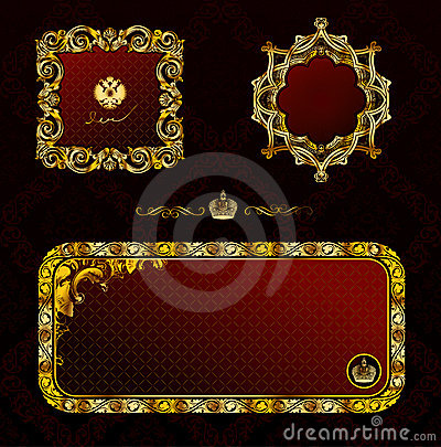 Glamour vintage gold frame decorative red black