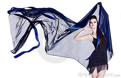 Glamour woman with blowing chiffon