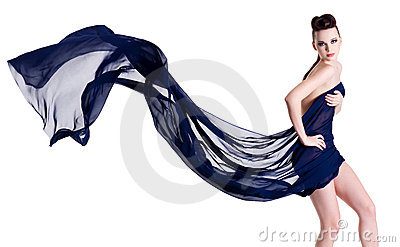 Glamour woman in blowing chiffon