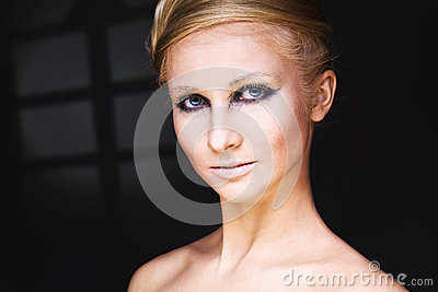 Glamour woman with brightly makeup