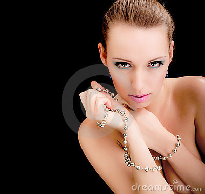 Glamour woman face, jewelry, beauty fashion model