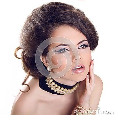 Glamourous closeup female portrait. Fashion evening elegance eye