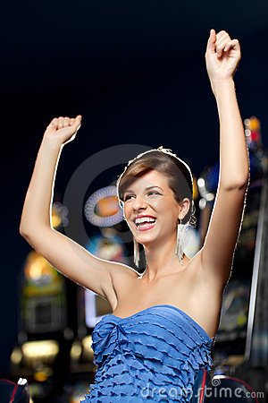 Glamourous woman celebrating winning