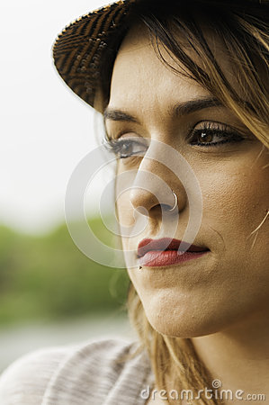Glamourous woman with nose ring