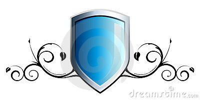 Glansig sköld för blå emblem