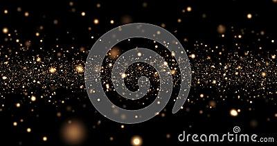 Glanst het Kerstmis gouden licht deeltjes bokeh loopable op zwarte achtergrond, van de de groetpartij van de vakantiegelukwens he stock footage