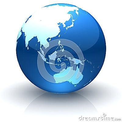Glanzende bol die Azië, Oceanië en Australië onder ogen ziet