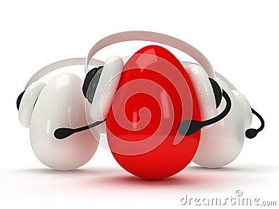 Glanzende eieren met hoofdtelefoons over wit