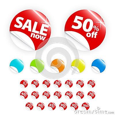 Glanzende kleinhandels geplaatste sticker: verkoop en voorzie