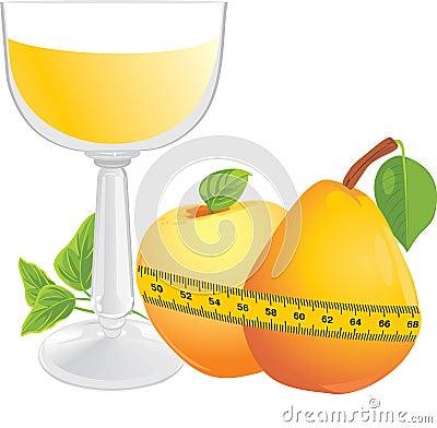 Glas met sap, vruchten en het meten van band
