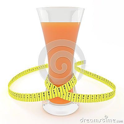 Glas Saft mit einem messenden Band