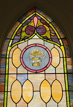 Glasfenster des frommen Flecks