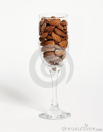 Glass of almonds