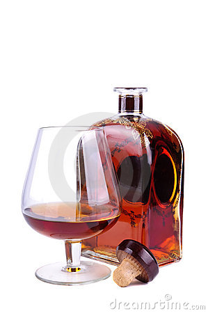 Free Glass And Bottle Of Cognac Royalty Free Stock Image - 17696166
