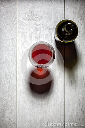 Free Glass And Bottle Of Red Wine With Cork On Table Stock Image - 39846681