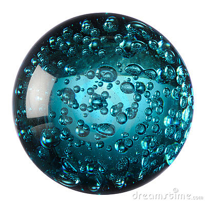 Glass ball of blue water