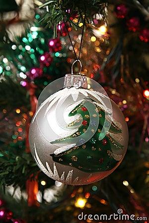 Glass ball on christmas tree
