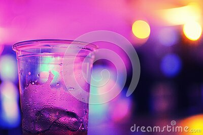 Glass On Bar In Purple Light Free Public Domain Cc0 Image