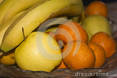 Glass basket of fresh fruits