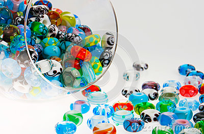 Glass beads in jar