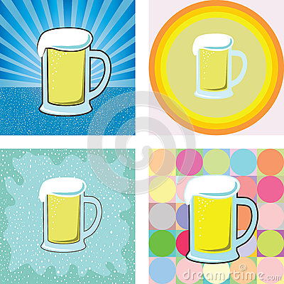 Glass of beer graphic into many retro styles background