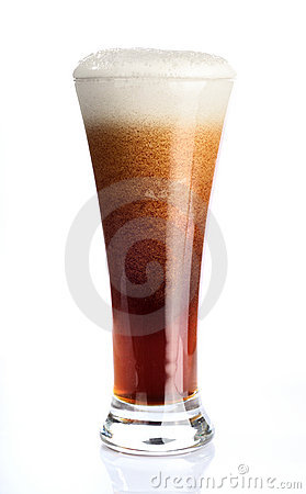Glass with beer on white