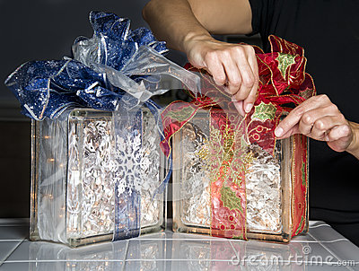 Glass Blocks With Ribbons and Lights
