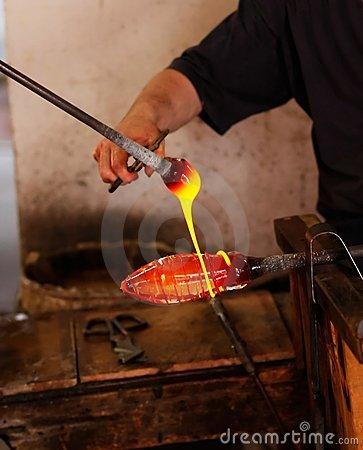 Free Glass Blower At His Work Stock Image - 10431971
