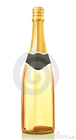 Glass bottle with Champagne wine