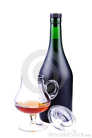 Glass and bottle of cognac