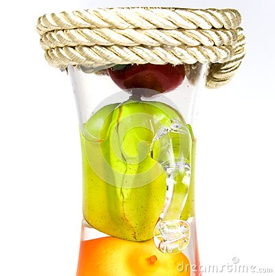 Glass bottle with handles