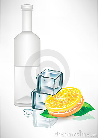 Glass bottle with ice cubes and lemon