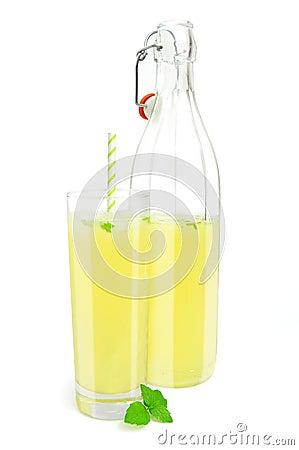 Glass and bottle of lemonade