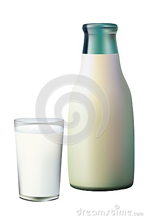 A glass and a bottle of milk.