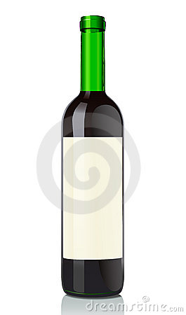 Glass bottle with red wine
