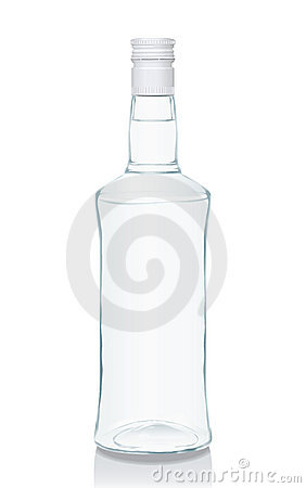 Glass bottle with Russian vodka
