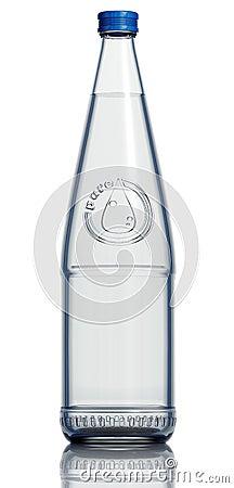 Glass bottle of soda water.