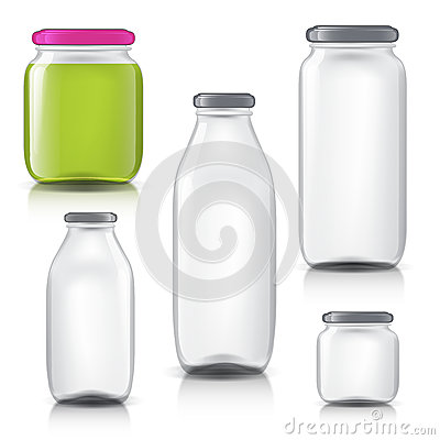Free Glass Bottles Empty Transparent Set. Template Of Glass Jars. Bank Juice, Jam, Liquids Stock Image - 67974761