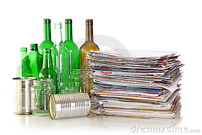 Glass bottles, metal cans and newspapers