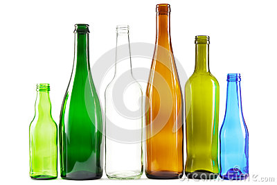 Glass bottles of mixed colors