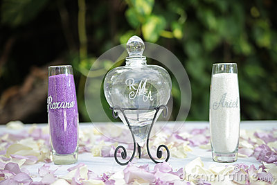 Glass bottles and petals