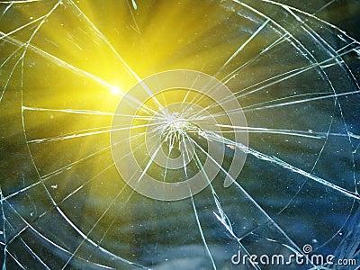 Glass the broken automobile