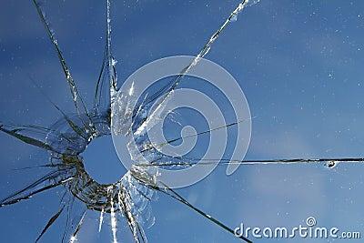 Glass  broken  cracks  splinters