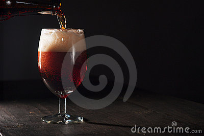 Glass of brown beer